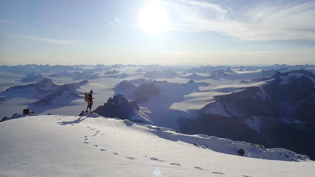 View to the southwest over the vast Juneau Icefield from the summit of Devils Paw.