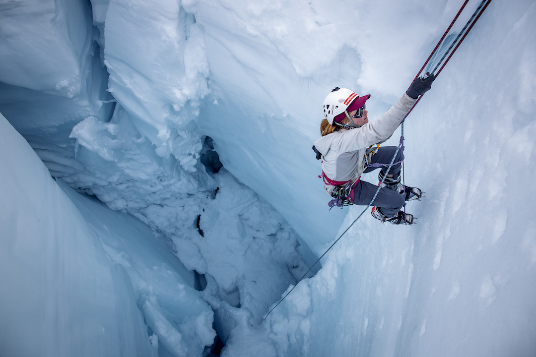 Tori Kennedy, 2018 student researcher, practices ascending out of a crevasse.