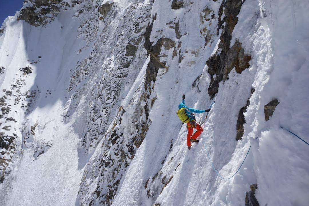 Ales Česen searching for the line on Latok I's north side.