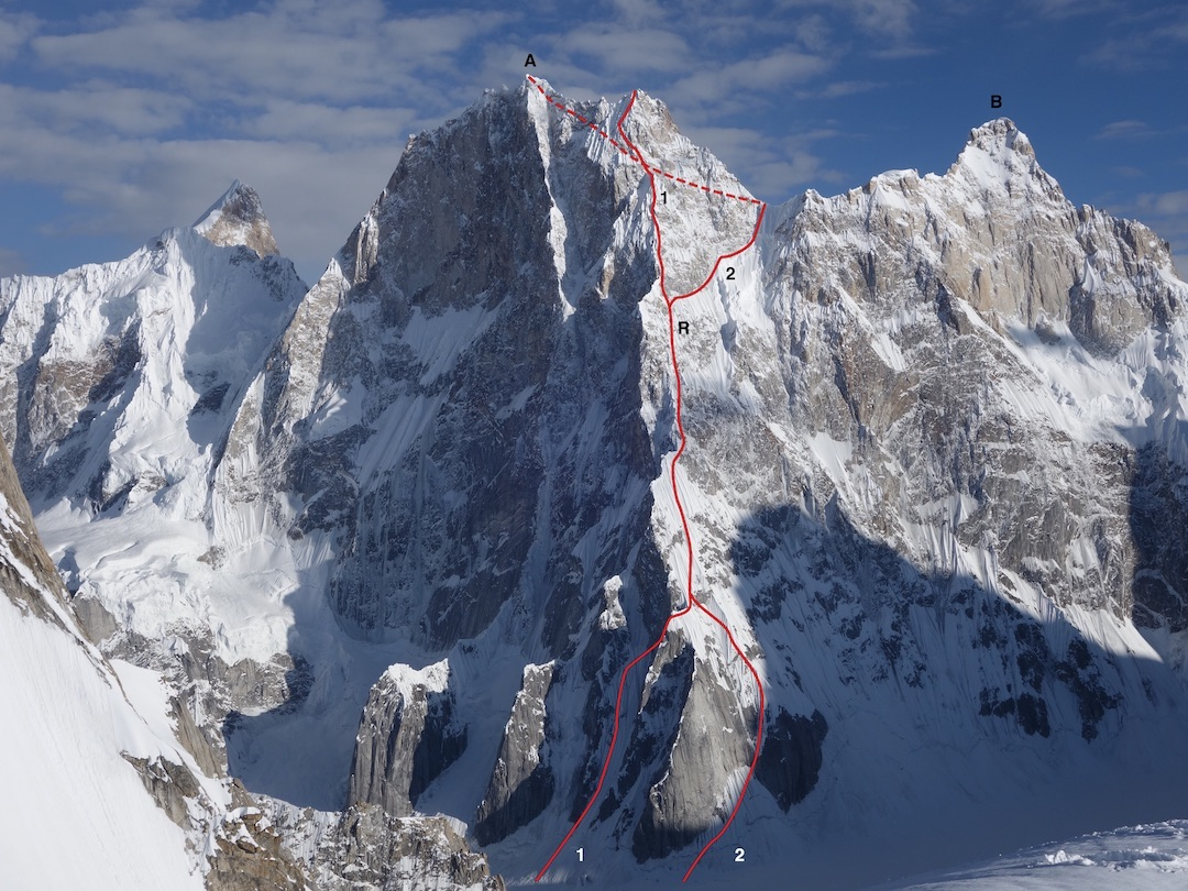(A) Latok I (7,145 meters) from the north. (B) Latok II. (1) Russian attempt in 2018 to the top of the north ridge at approximately 7,050 meters. (R) Approximate site where Alexander Gukov was stranded and eventually rescued by helicopter in 2018. (2) Slovenian-British Route (second ascent of Latok I, also in 2018), passing through the col between Latok I and II to finish by the southern slopes.