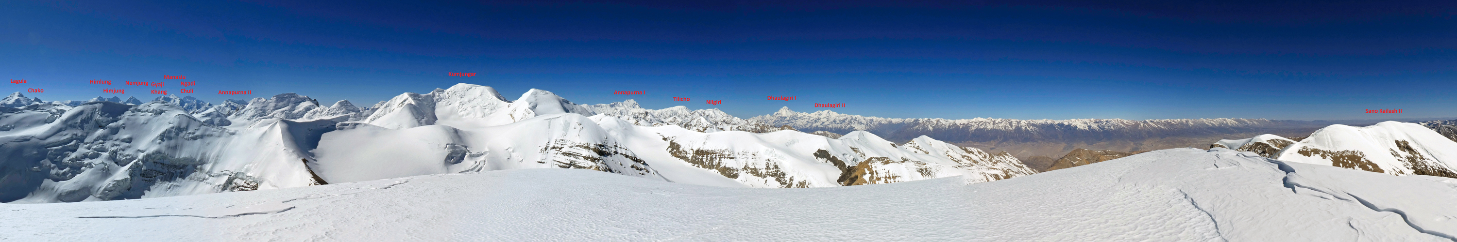 Panorama (southeast to west) from the summit of Sano Kailash.