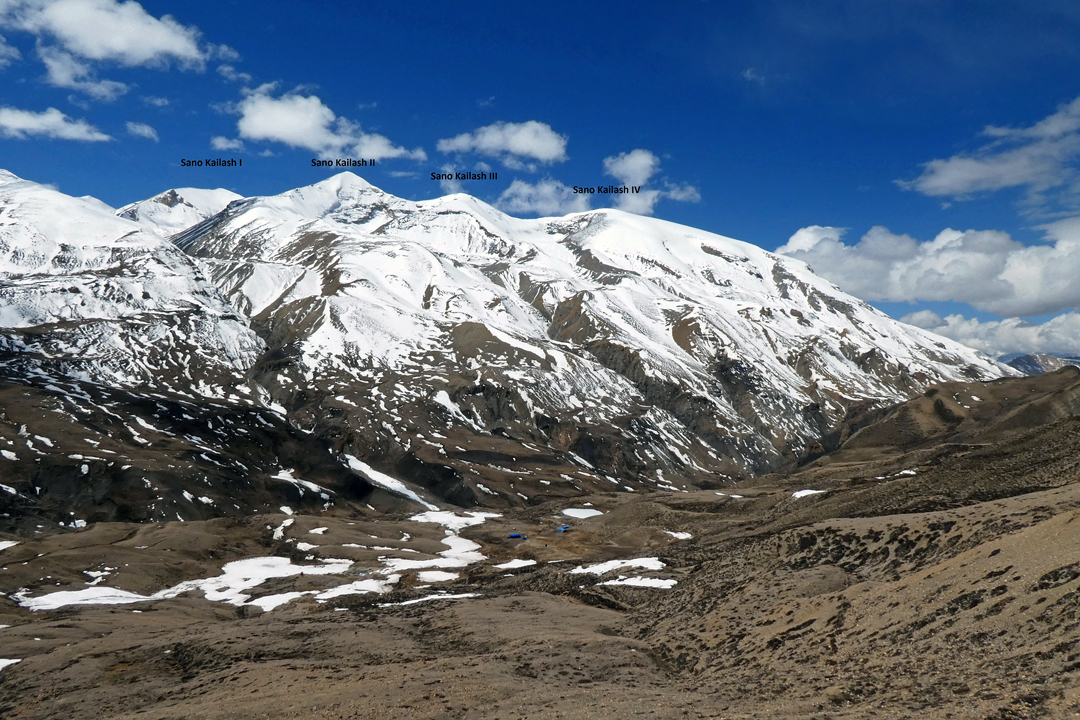 Looking south at the Sano Kailash group from camp at Damodar Kunda.