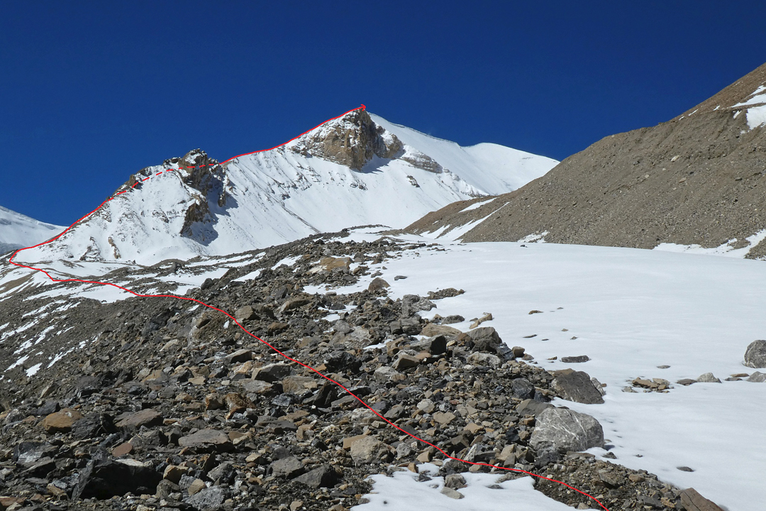 Sano Kailash and the route of ascent, as seen from above base camp. The summit is at the right-hand end of the snow ridge.