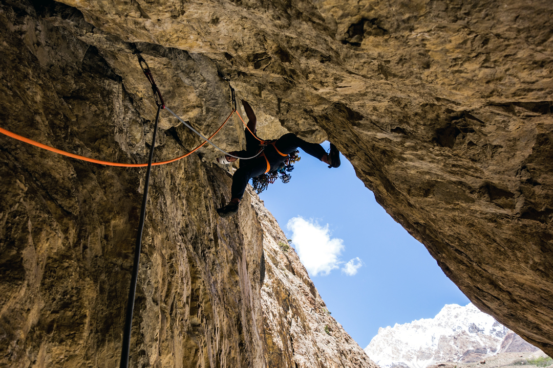 Symon Welfringer on the first ascent of Removable Crux (7b+), Yarkhun Valley.