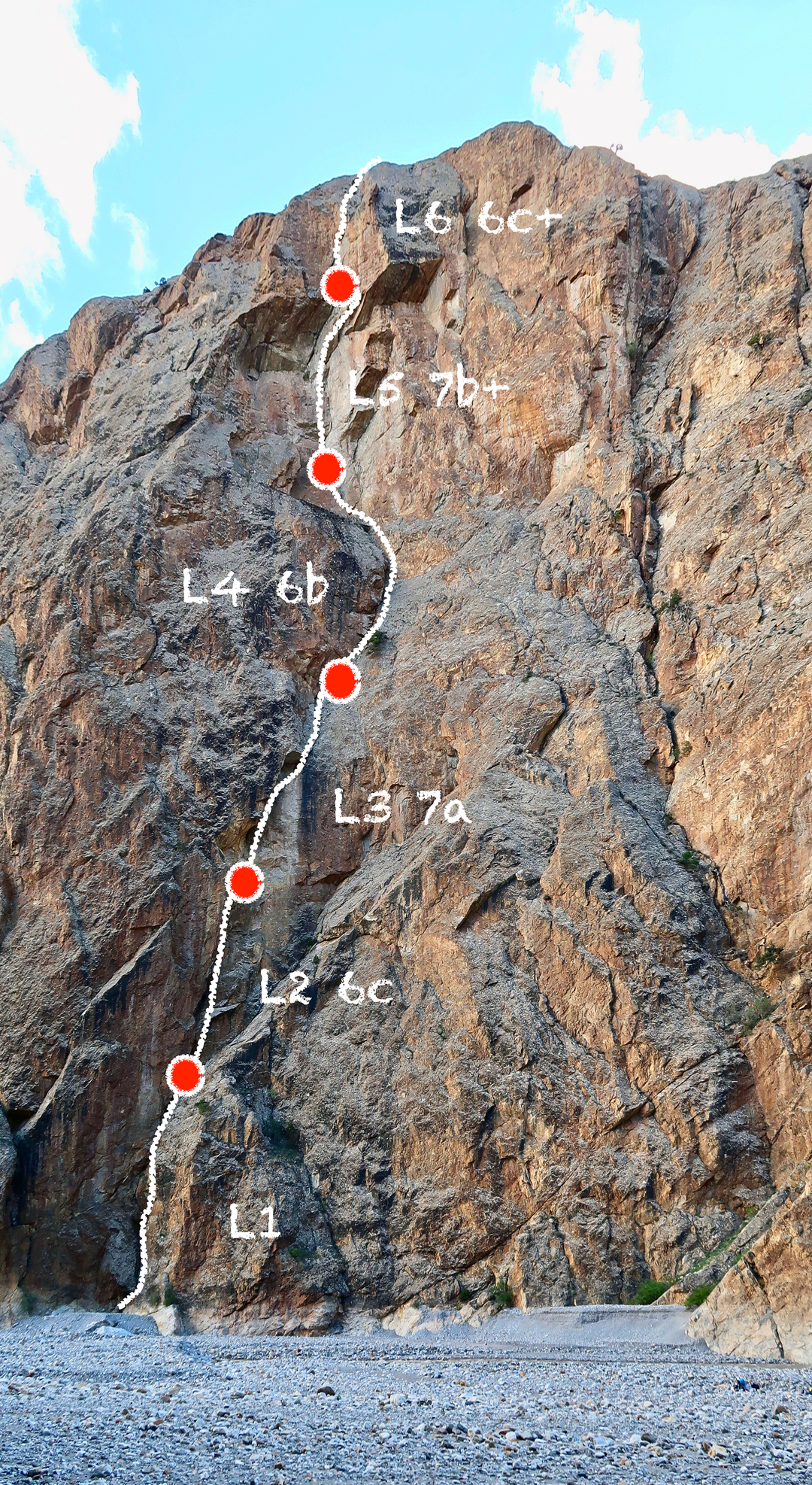 Removable Crux (250m, 7b+), Yarkhun Valley.
