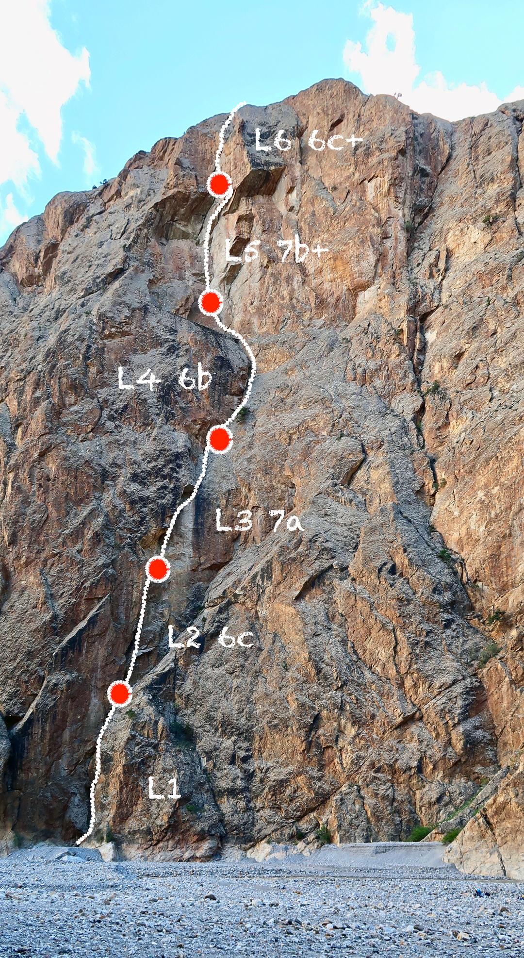 Removable Crux (250m, 7b+), Yarkhun Valley.
