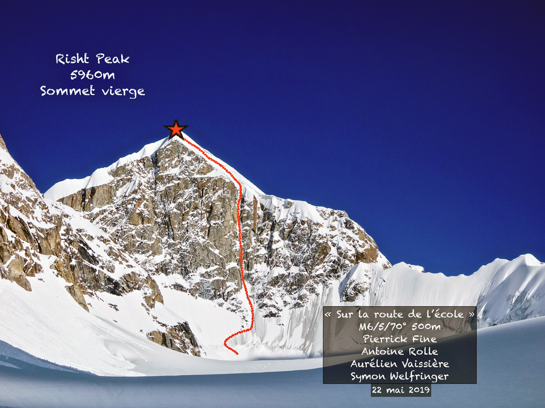 Risht Peak and the line of the 2019 French first ascent.