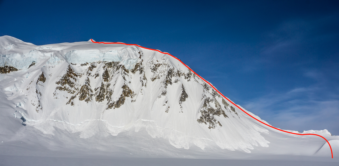 The previously unnamed and likely unclimbed peak (ca 8,300') near the Dall Glacier, climbed via its southwest ridge by Thomas Eaves and Zach Lovell in May 2019. Their route Moonwalk (III 60˚ snow) is shown; they named the peak Mt. Katherine.