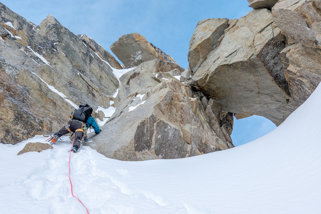 Niek de Jonge leading an aesthetic pitch during the first known ascent of the north ridge of Mt. Titanic (ca 9,300').