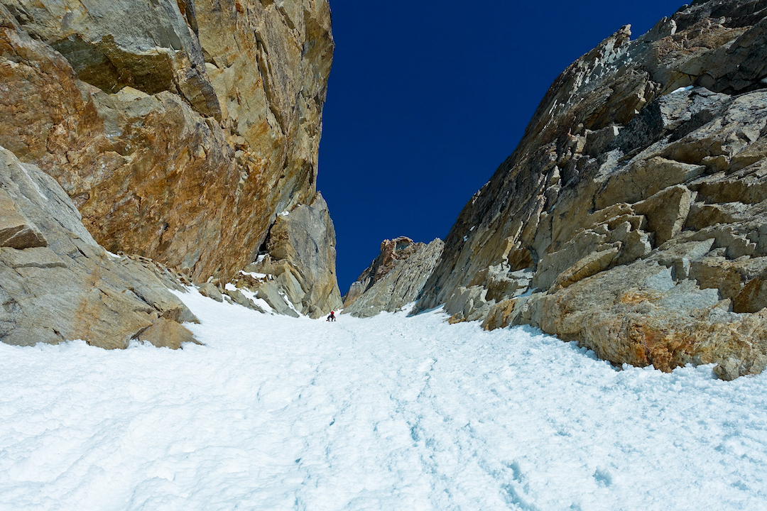 Bas Visscher soloing up the aesthetic south couloir of Tantalus (Peak 8,910').