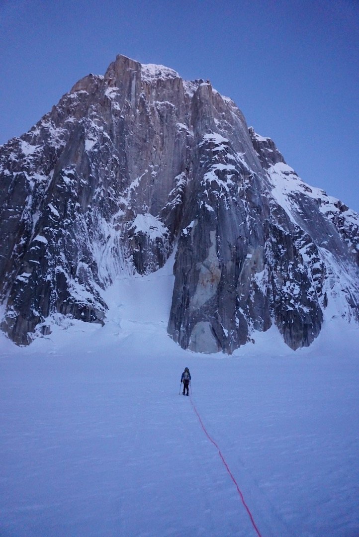 Alan Rousseau approaches the massive east face of Mt. Dickey (9,545') in the Ruth Gorge.