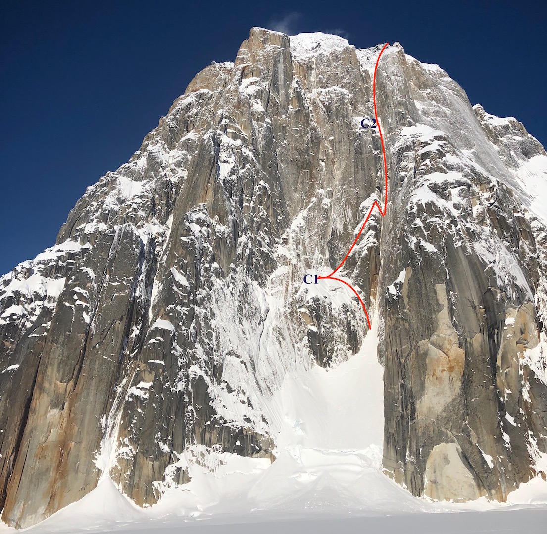 The east face of Mt. Dickey, showing the line of Ruth Gorge Grinder (5,000', AI6+ M7 A1). Alan Rousseau and Jackson Marvell climbed this new route on the east face of Mt. Dickey over three days in early April 2019. The two had originally intended to repeat Blood from the Stone (5,000', WI6+ X M7+ A1), which climbs above their initial camp on the lower snowfield and follows the obvious corners up the center of the wall.