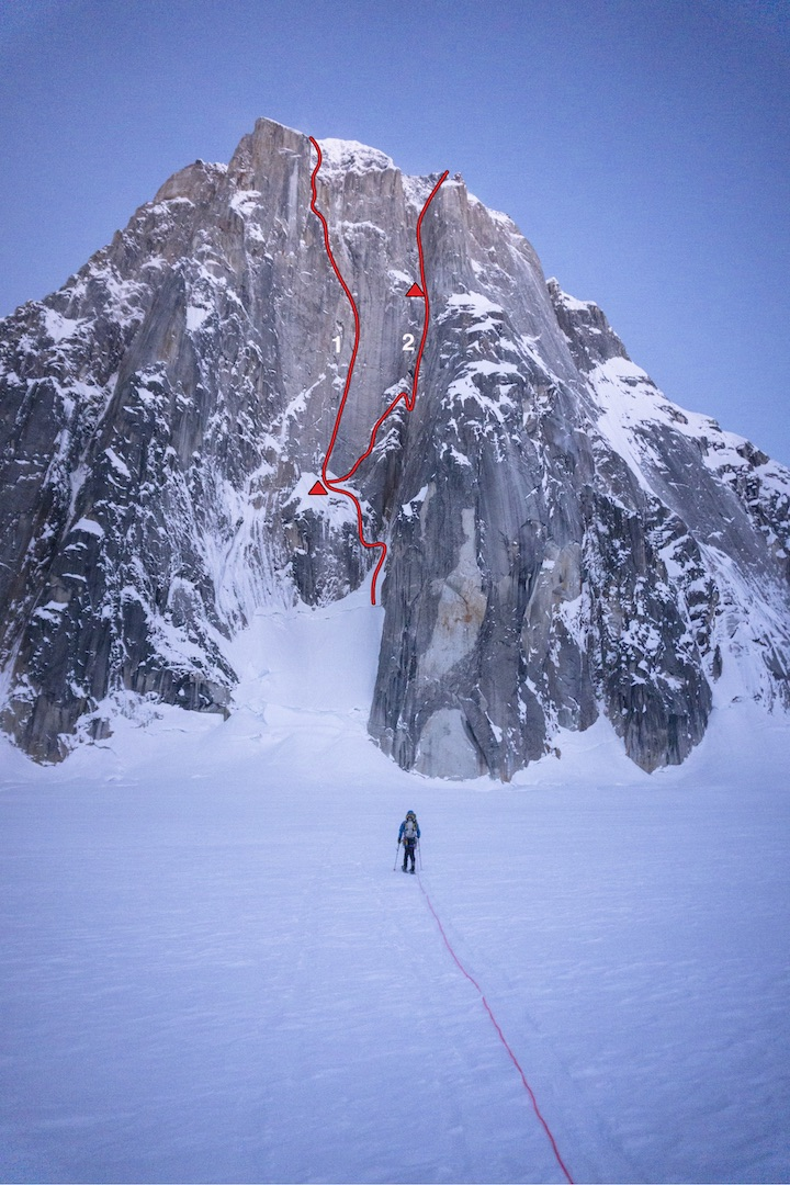 The 5,000-foot east face of Mt. Dickey, showing (1) Blood From the Stone (Easton-Steck, 2002) and (2) Ruth Gorge Grinder (Marvell-Rousseau, 2019), with bivouacs marked. The prominent pillar to the right is the line of the Wine Bottle (Bonapace-Orgler, 1988), and the less distinct pillars to the left were climbed by Tomas Gross and Vera Komarkova in 1977.