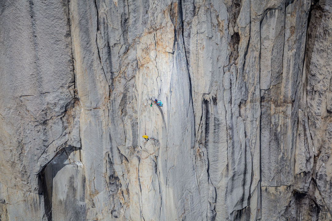 The team's portaledge camp amid the soaring offwidth cracks that define King Cobra (550m, IV 5.11) on the east face of Mt. Barrill in the Ruth Gorge.