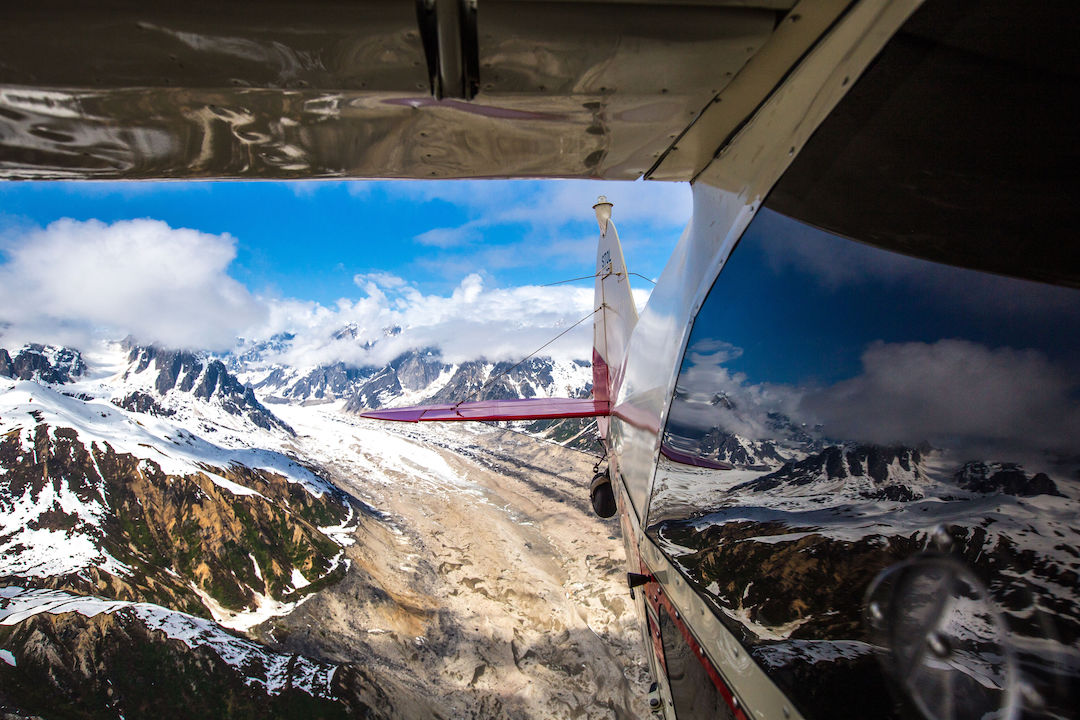 Reflections of the Alaska Range on the flight out from the Ruth Gorge.