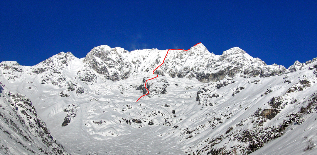 The east side of Chhopa Bamare (6,109m). The route of the first ascent, in late winter 2019, is marked. On a solo attempt the previous winter, John Kelley climbed the far right skyline ridge, over the rounded summit (Chhopa Bamare East) and up the final ridge toward the main summit until time constraints forced a retreat.