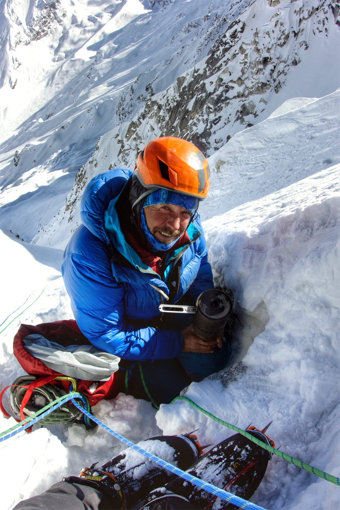 John Kelley during the rappel descent of the southeast face of Chhopa Bamare.