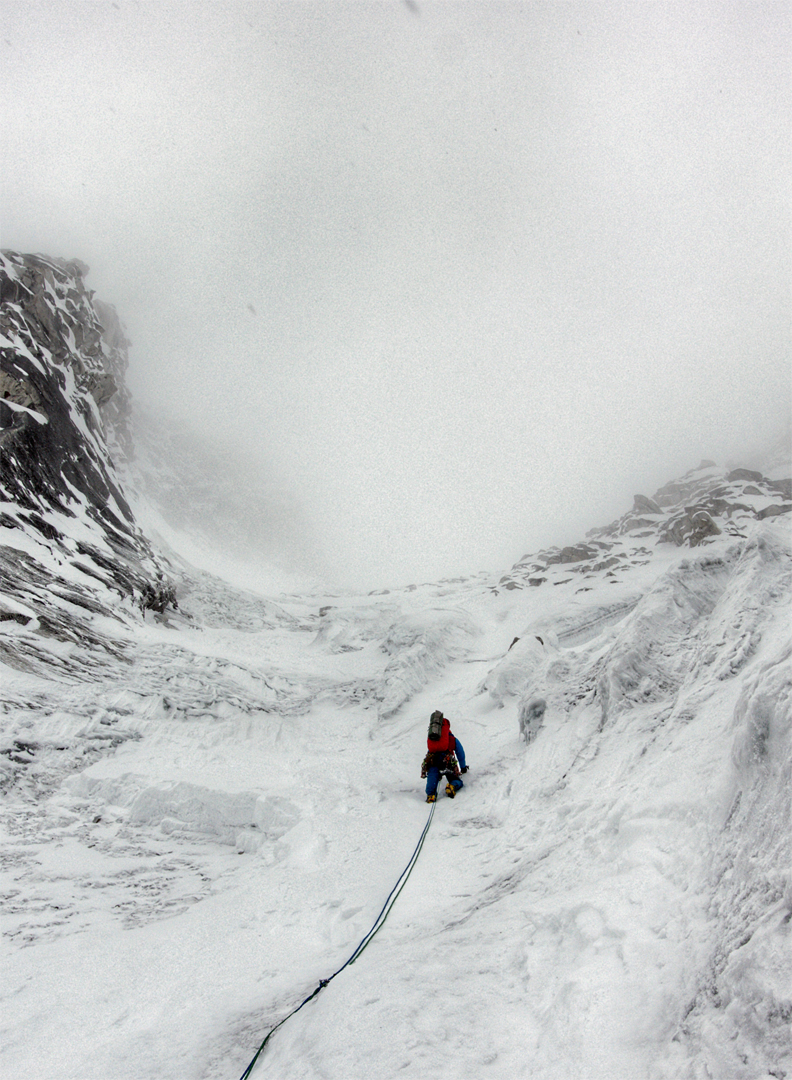 John Kelley on the southeast face of Chhopa Bamare during bad weather on the first day.