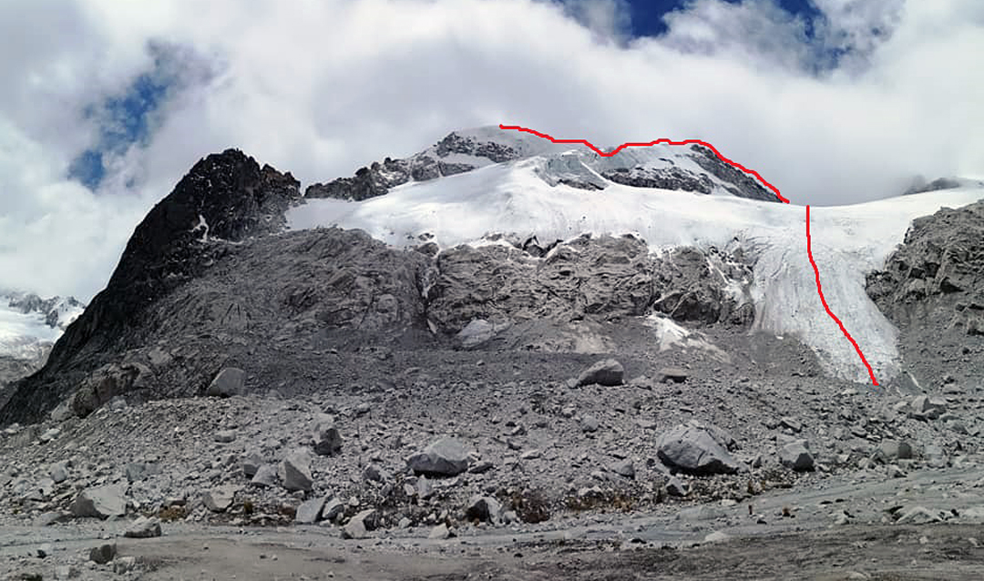 Himaciña (5,482m GPS) from the south, showing the 2019 route up the southeast ridge.