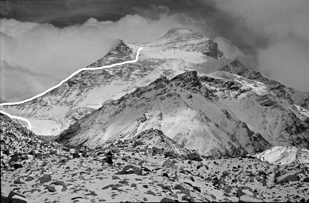 Cho Oyu from the west and the line of the 1992 German attempt on the north-northwest ridge to 7,300m.