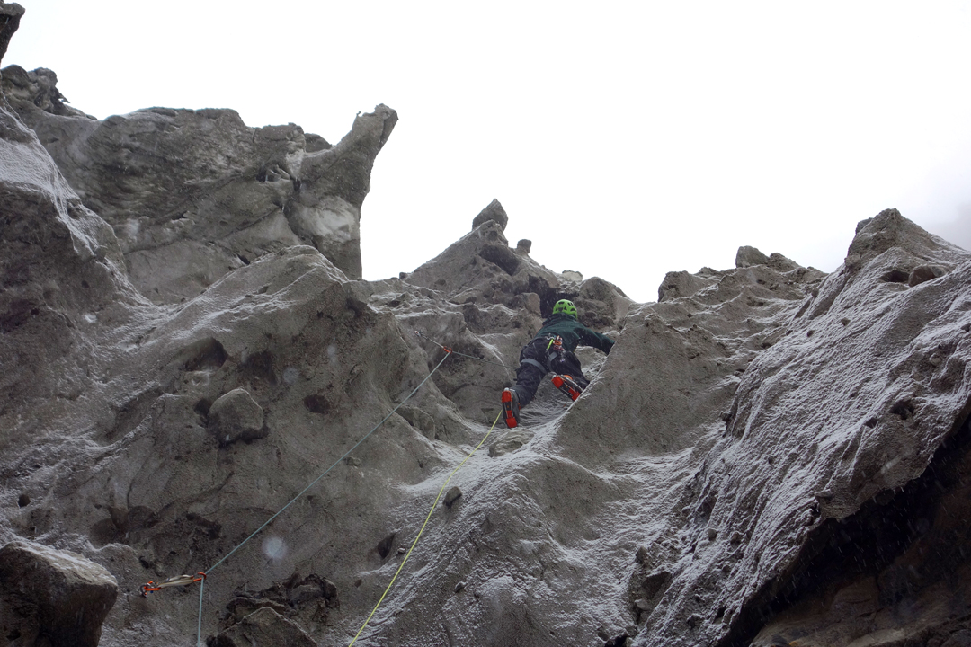 Martin Sieberer on the steep ice pitch of the glacier approach.