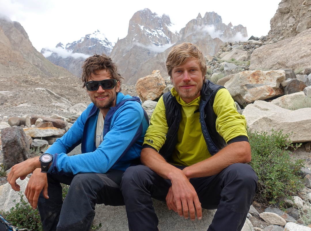 Martin Sieberer and Simon Messner immediately after their climb of the Black Tooth.