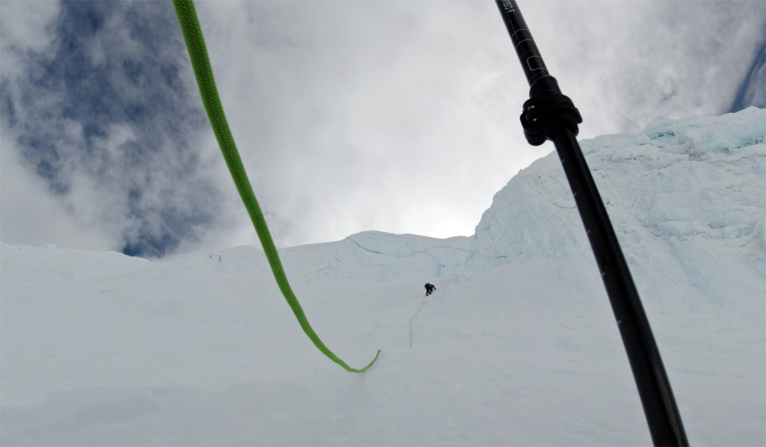 Pemba Sherpa leading pitch one on the northeast face of Hongu.