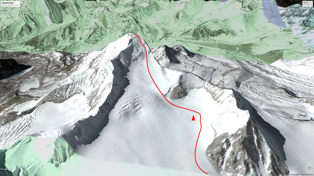 Approximate line of the 2019 ascent of the northeast face of Hongu, with Camp 3 marked.