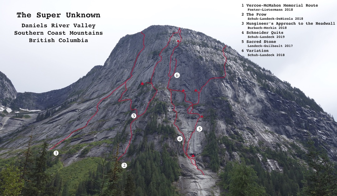 Completed routes, attempts, and variations on the Super Unknown, one of four large granite walls in the Daniels River Valley of coastal British Columbia. Colin Landeck and Josh Schuh established Schneider Quits (1,200m, 27 pitches 5.10+ A2+)—the fourth complete line on the formation—over five days in August 2019.
