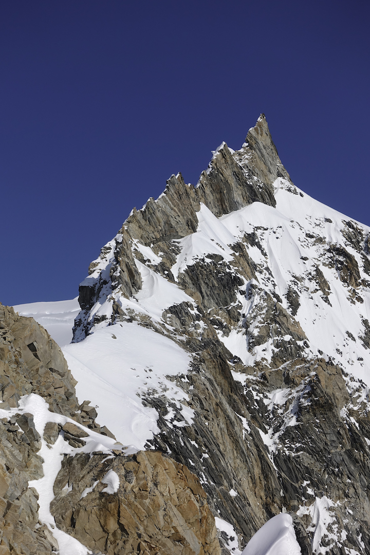 Mt. Waddington's upper west ridge. Ian Welsted and Simon Richardson followed the hanging ramp on the right side of the jagged crest en route to making the first complete ascent of the west ridge in August.