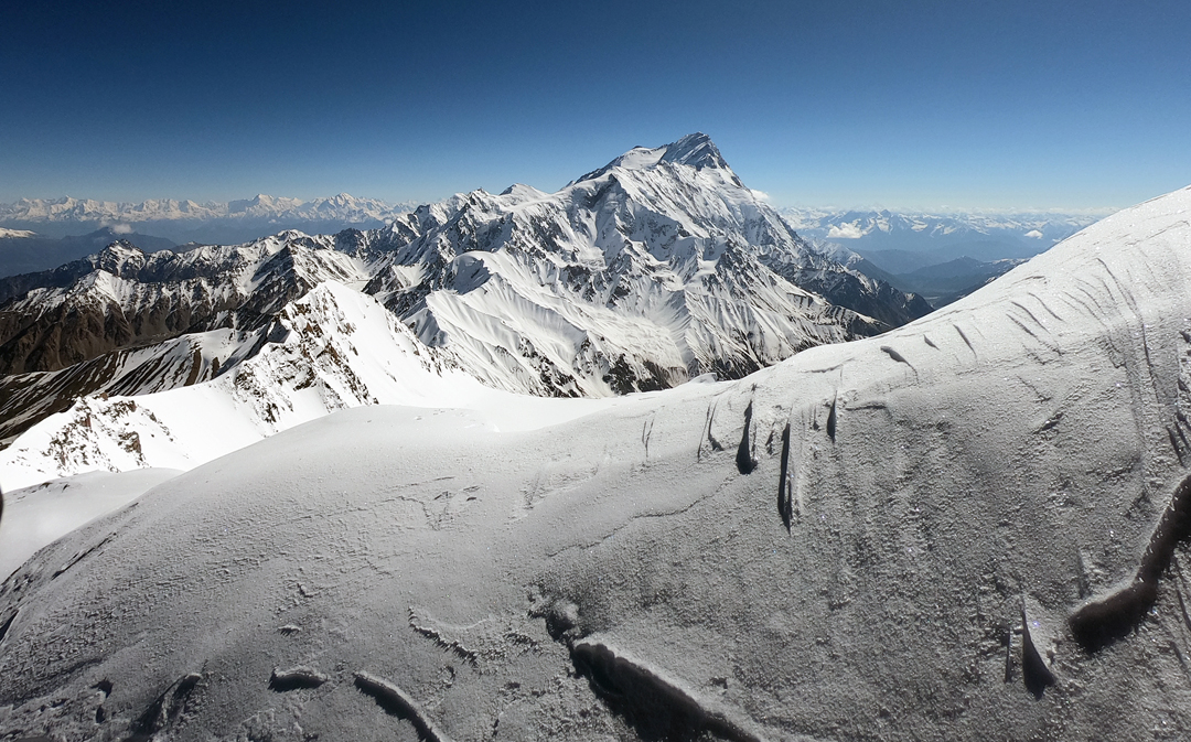 View from close to the summit of Geshot Peak, looking northeast at Nanga Parbat.