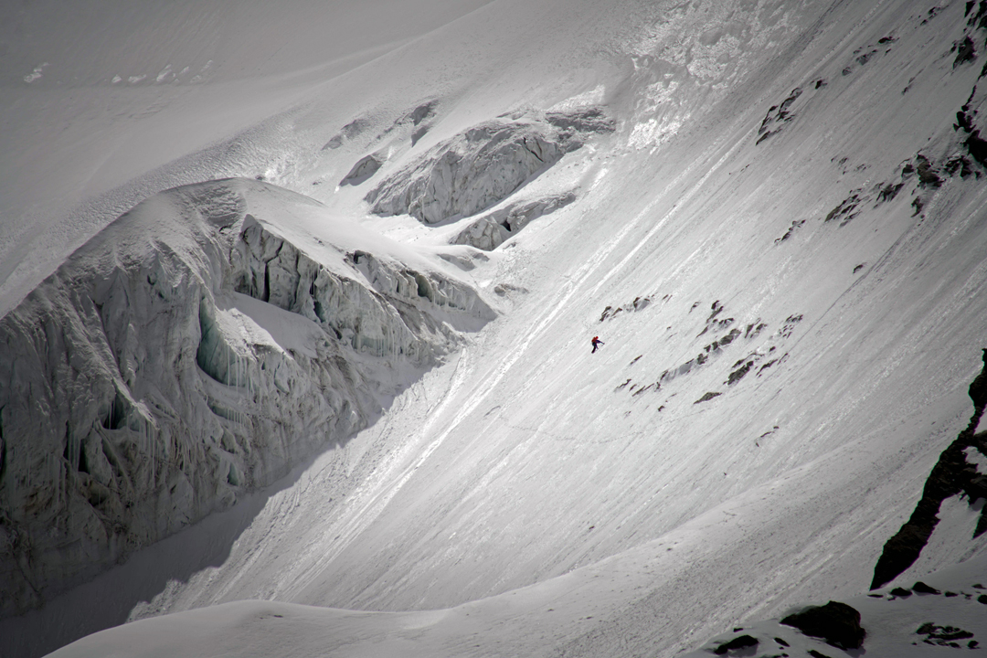 Simon Messner near the bottom of the northwest spur of Geshot Peak, descending after the first ascent of the mountain.