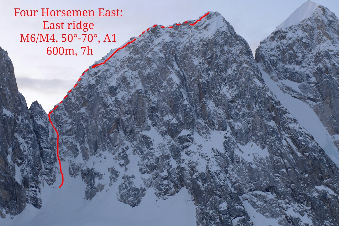 The north face of the unclimbed northern summit of the Four Horsemen (ca 8,530') showing the line of the east ridge (600m, M6 70˚ A1) climbed by Janez Svoljšak and Miha Zupin in spring 2019. This was the last unclimbed summit of the distinct peaks that make up the Four Horsemen.