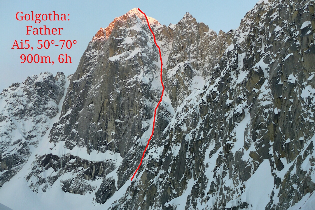 The east face of Golgotha (8,940') showing the line of Father (900m, AI5 70˚). This was one of five new routes that Janez Svoljšak and Miha Zupin climbed in spring 2019. They descended by the first ascent route (Helander-Trocki, 2012), dropping south behind the left skyline and then down the obvious snow couloir to the base of the east face.