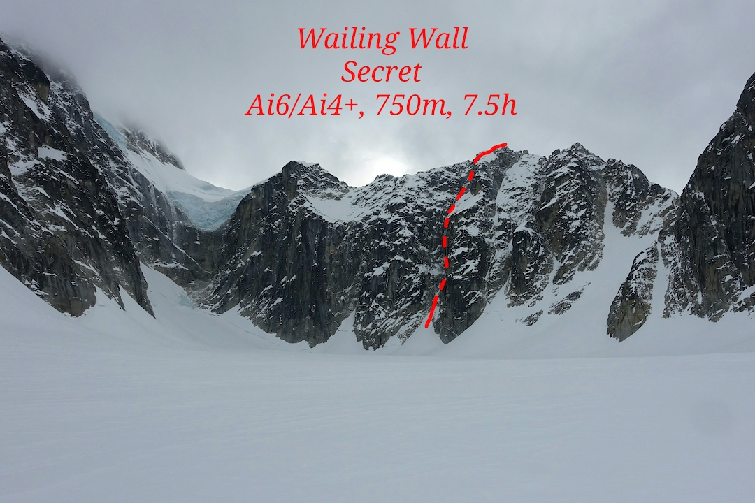 The northeast face of a previously unclimbed formation at the head of the Revelation Glacier, which Janez Svoljšak and Miha Zupin named the Wailing Wall (ca 8,040') after climbing Secret (750m, AI6).