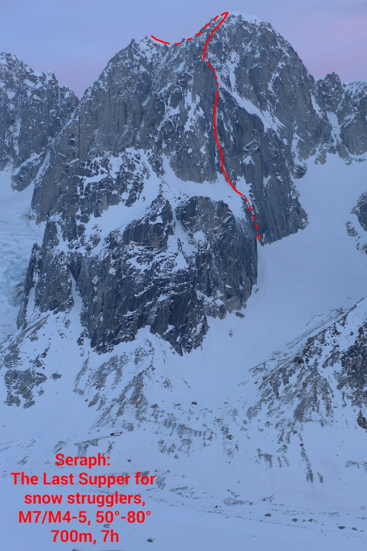 The northeast face of Seraph (8,540'), showing the line of the Last Supper for Snow Strugglers (700m, M7 80˚).