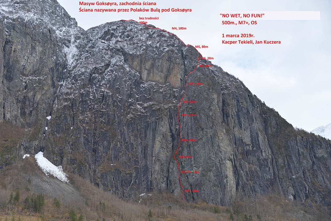 No Wet, No Fun on the lower west face of Goksøyra. Two routes from 2013 ascend the left side of the face.