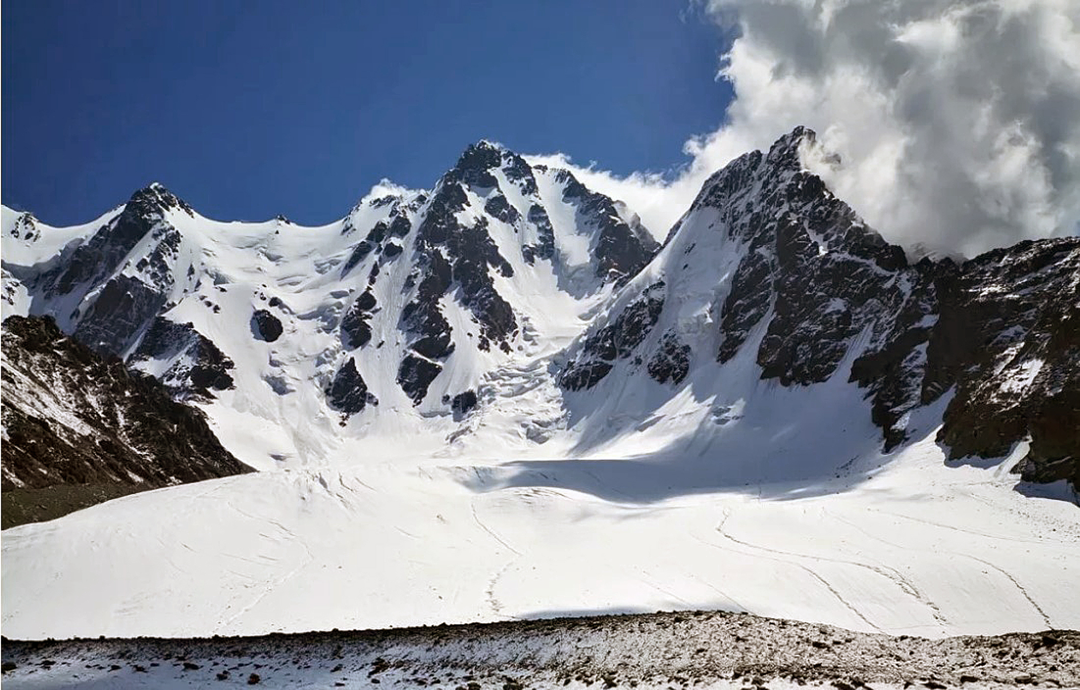 The northwest face of Bogda V and route of 2019 Chinese ascent. Bogda I (5,445m) is off picture to the left.