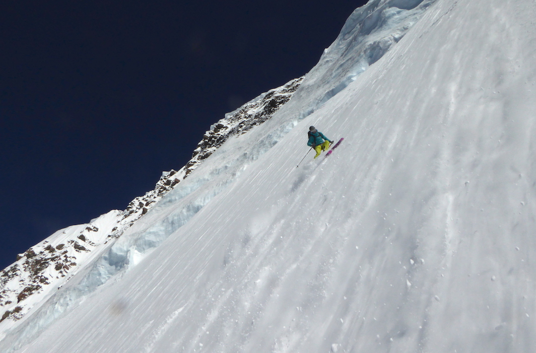 Tom Grant skiing near the very top of the Caroline Face. A perfect 50-degree pitch with compact powder.