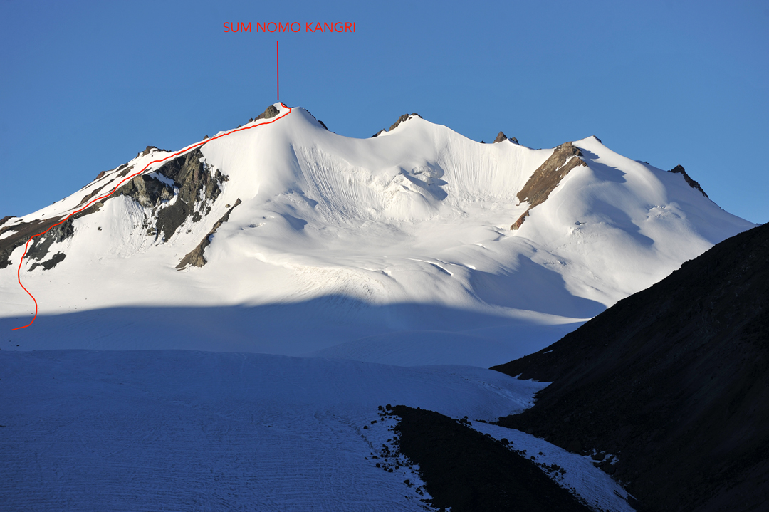 The north face of Sum Nomo Kangri and French route of ascent to the west top.