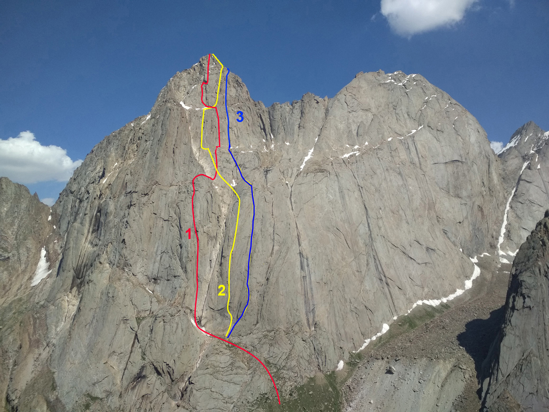 Kotina and Kirkchilta (right) seen from the west, with the 2019 ascents shown. (1) Operation KIK. This route is a direct finish to a route from 2012 that finished to the left. (2) Krukonogi. (3) Krasnoyarsk Route.