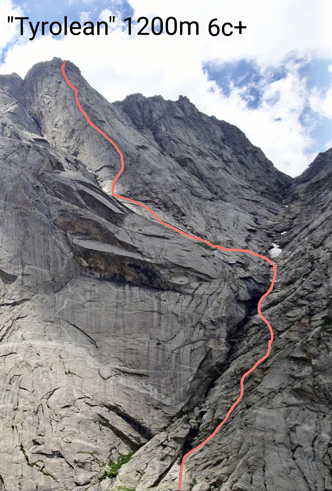 The line of Tyrolean on Silver Wall seen from below.