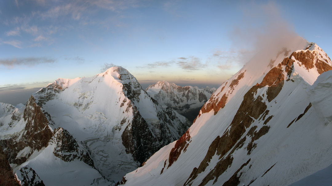 Looking south-southwest from the third bivouac site on Chon-Turasu at the north side of Dankova (5,982m), and to the right, in the far distance, Pik Kosmos (a.k.a Schmidta, 5,940m).