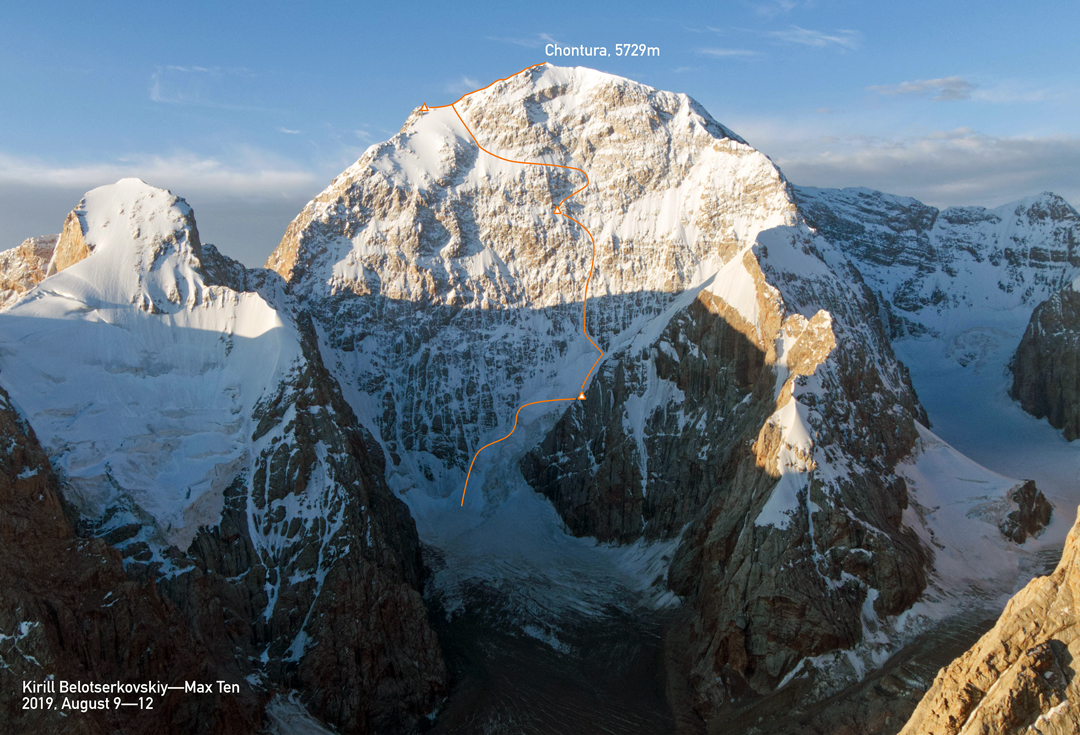 The north face of Chonturasu and the Belotserkovskiy-Ten line on the north face, finishing to the summit via the east ridge. In front and to the left is Pik Trapez.