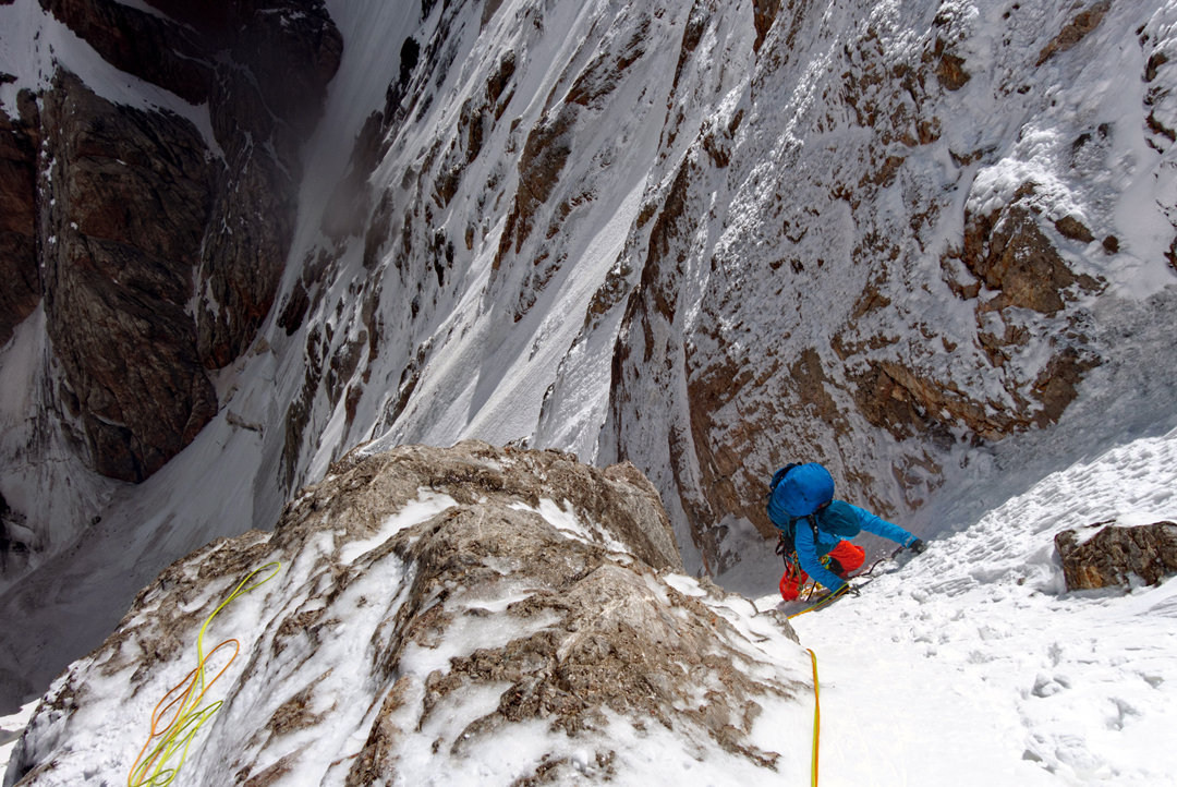Max Ten following pitch seven on day two of the first ascent of Chon-turasu's north face.