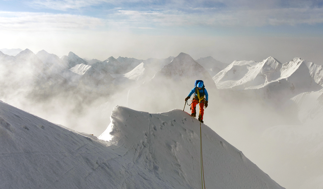 Max Ten on the east ridge of Chon-turasu, close to where he and Kirill Belotserkovskiy reached the ridge after climbing the north face.