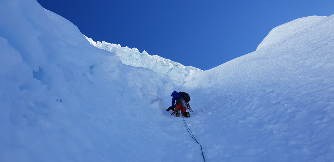 Climbing very steep snow on Nevado Salkantay, (6,279m), southeast face, Manjar Rubio (1,250m, ED).