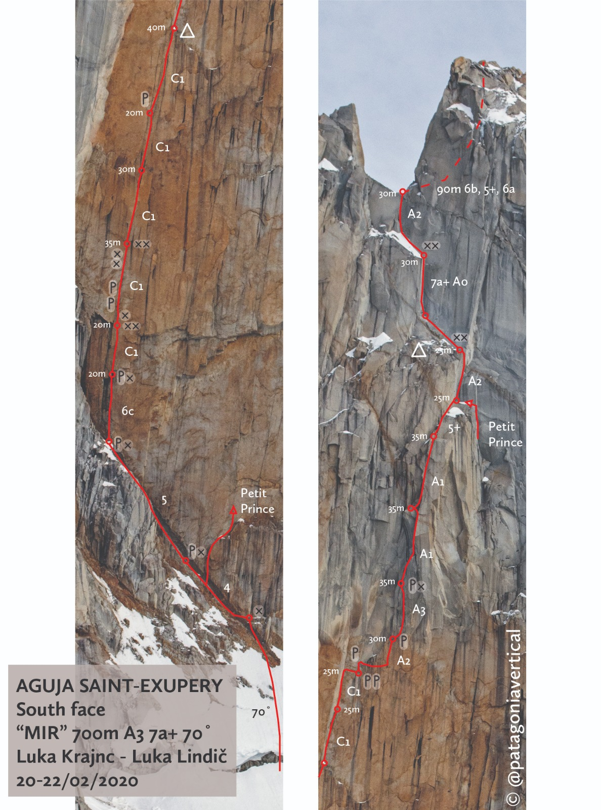 A detailed photo-topo of the route Mir (500m, 6c+ A3 70°) on the south face of Aguja St. Exupery.