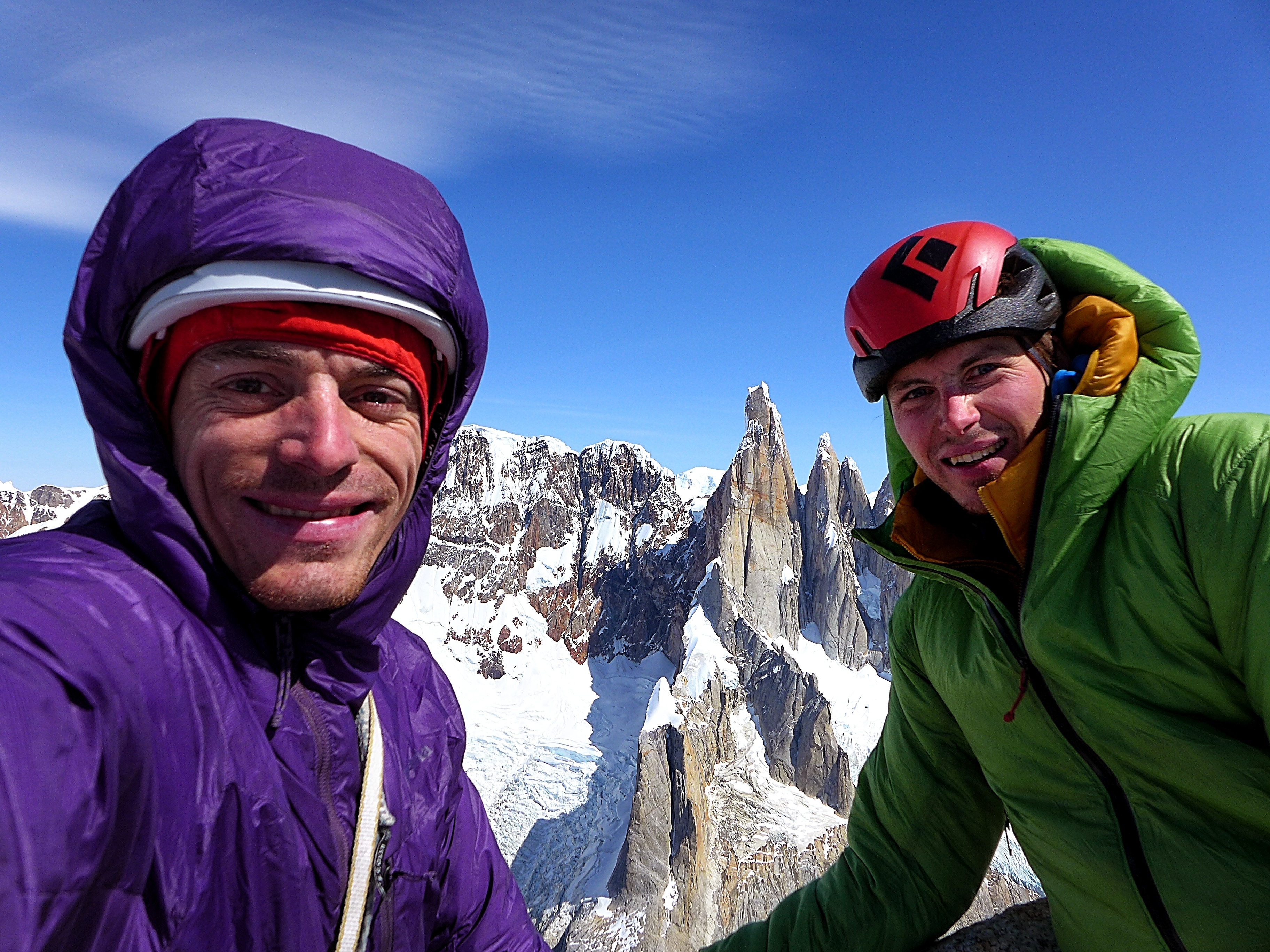Luka Krajnc (left) Luka Lindič atop Aguja St. Exupery following the first ascent of Mir on the south face.