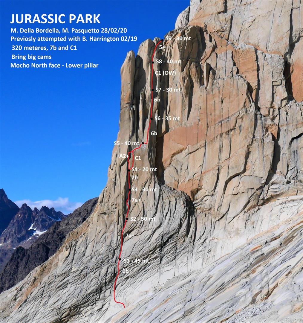 A photo-topo of Jurrasic Park (320m, 7b C1) on the north face of El Mocho's lower pillar.